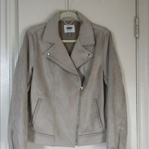 Faux suede grey moto jacket